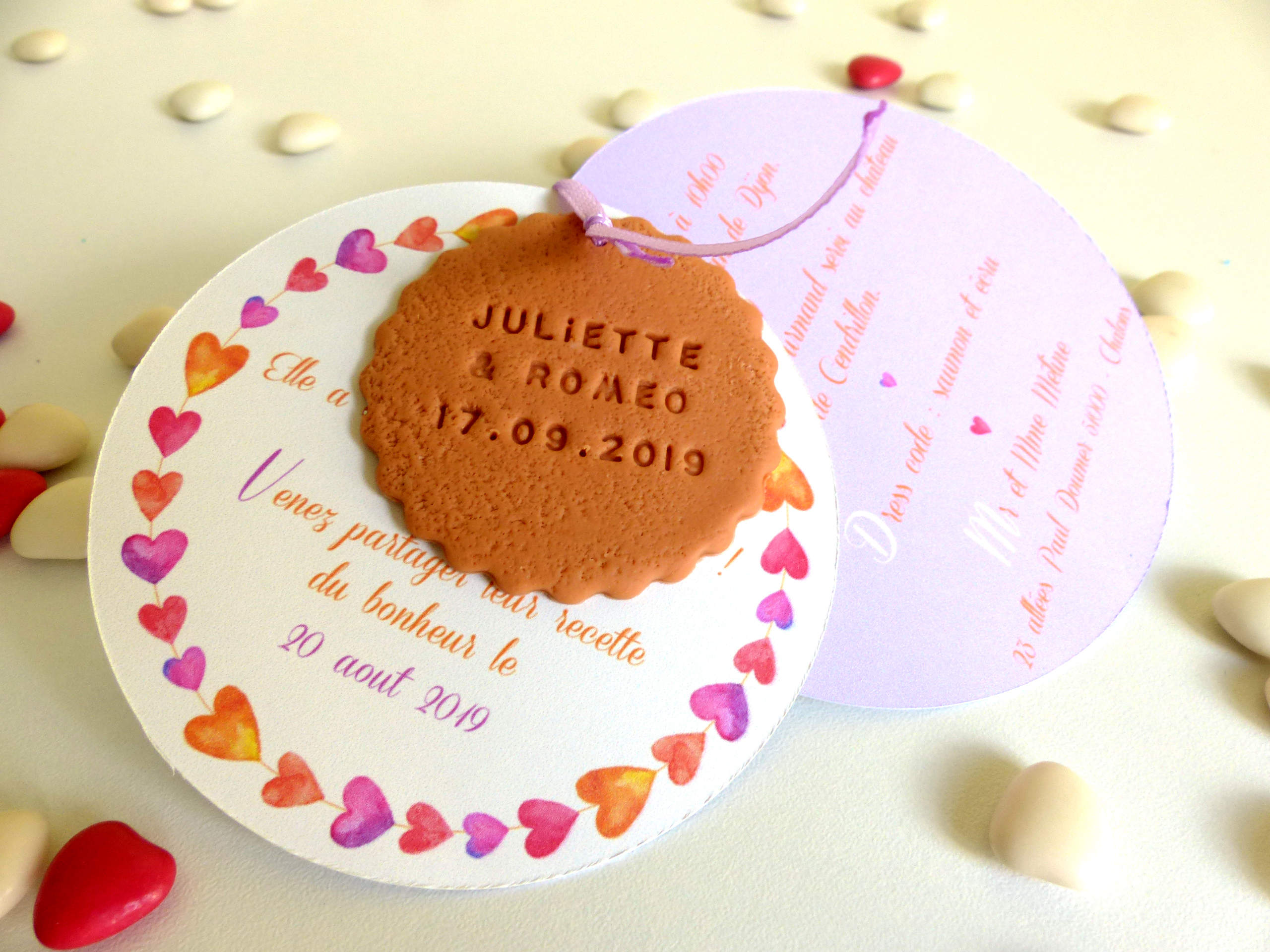 faire-part coeur, rond, biscuit, violet, saumon