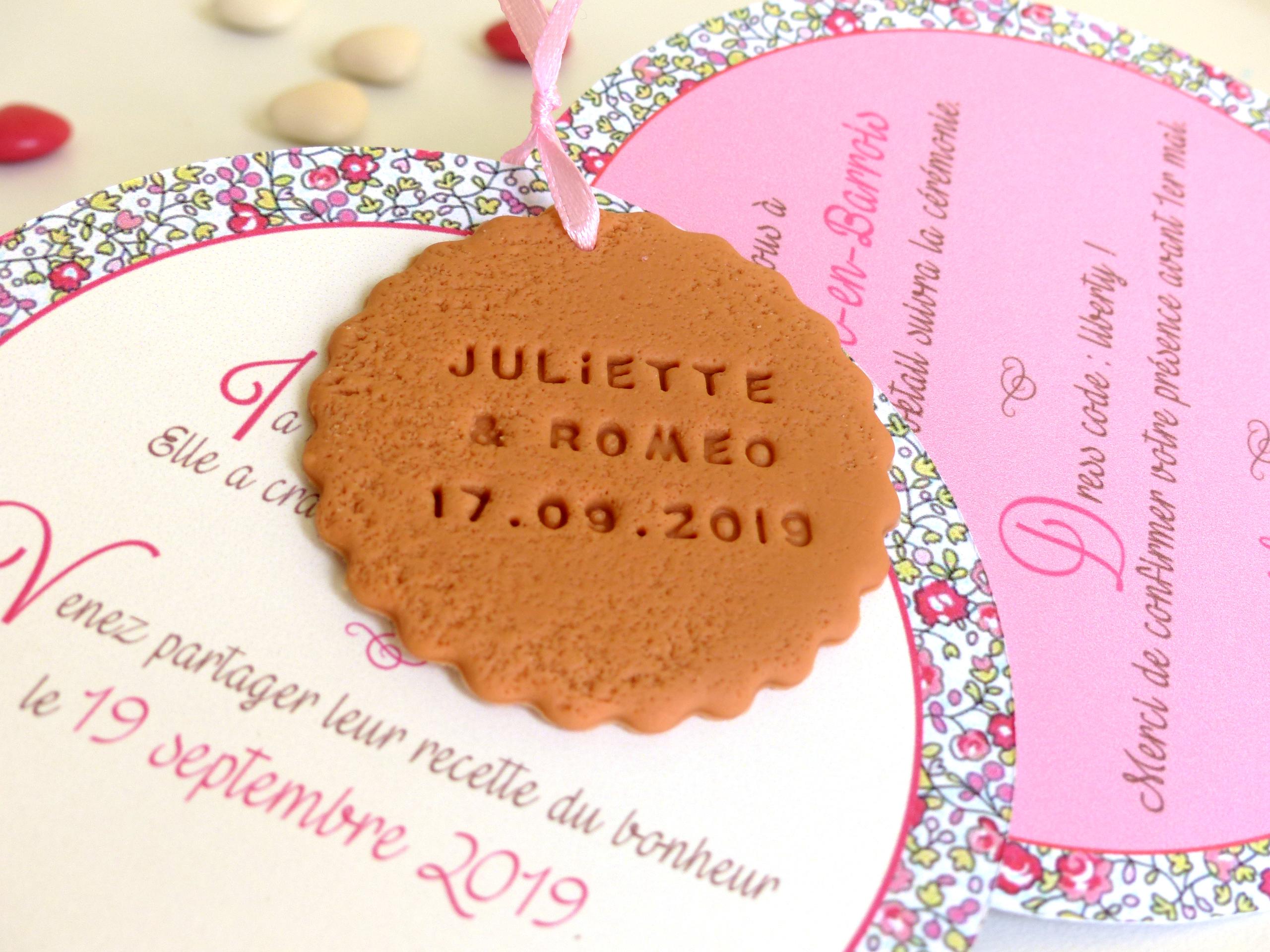 faire-part de mariage biscuit rond