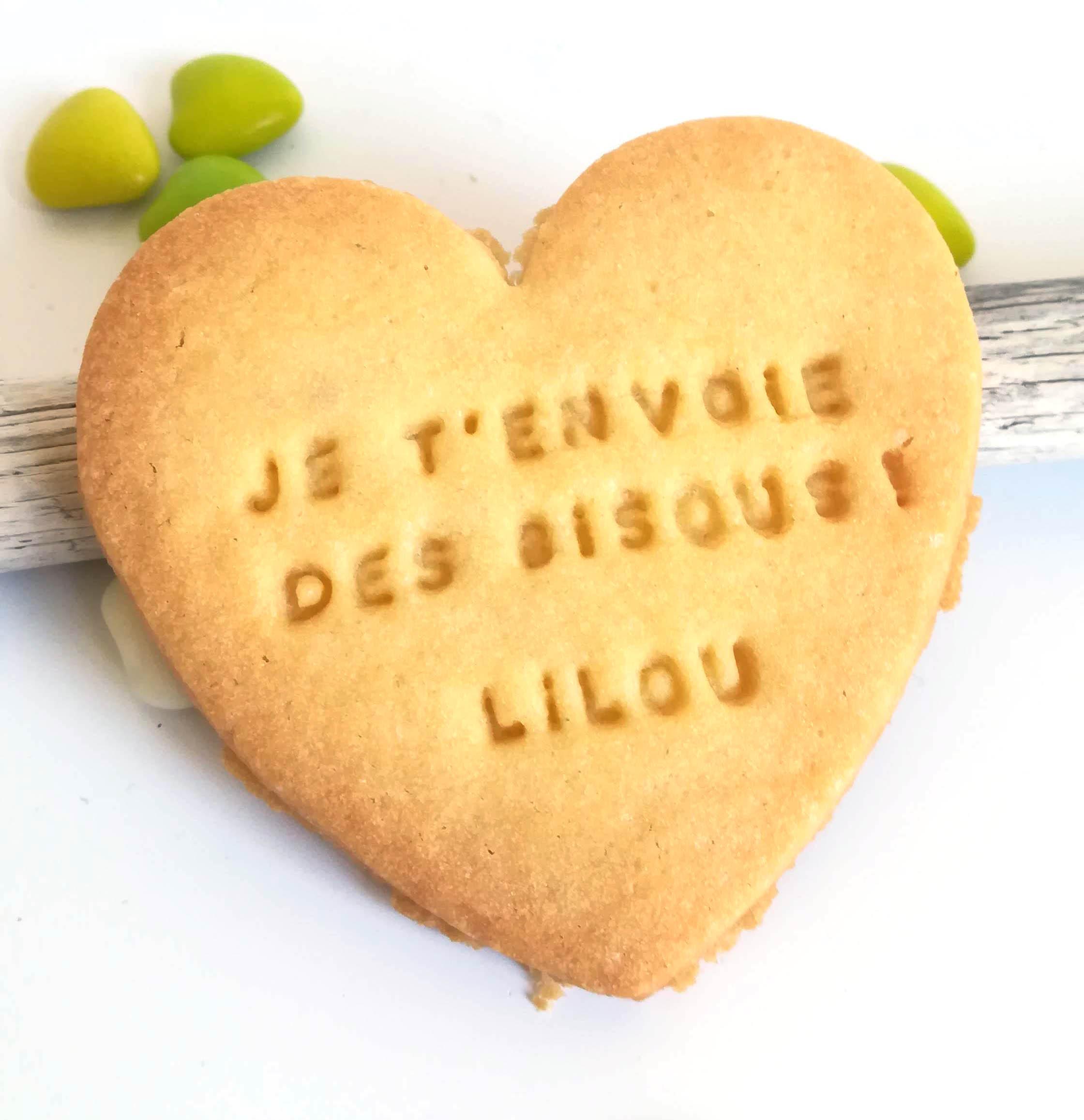 biscuit coeur, bisous message mamie